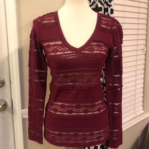 Express burgundy lace top size S